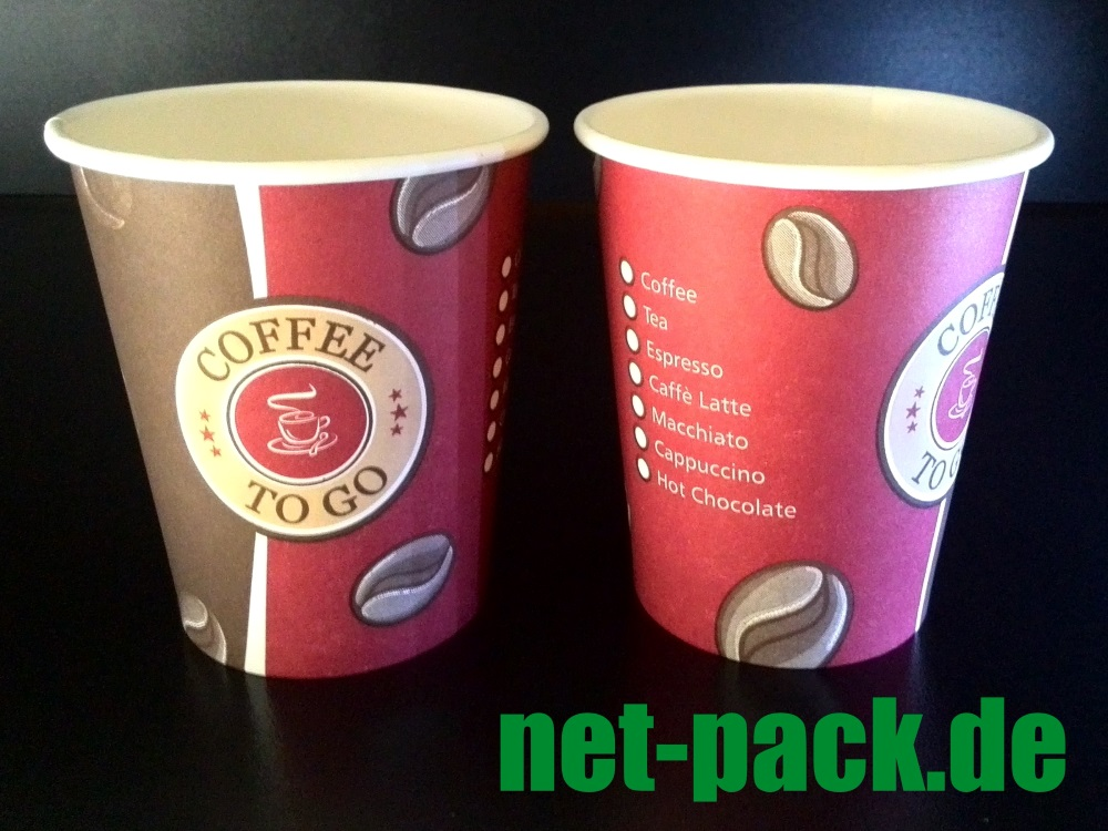 "Kaffeebecher ""COFFEE TO GO"" 200ml/8oz 1000 Becher"