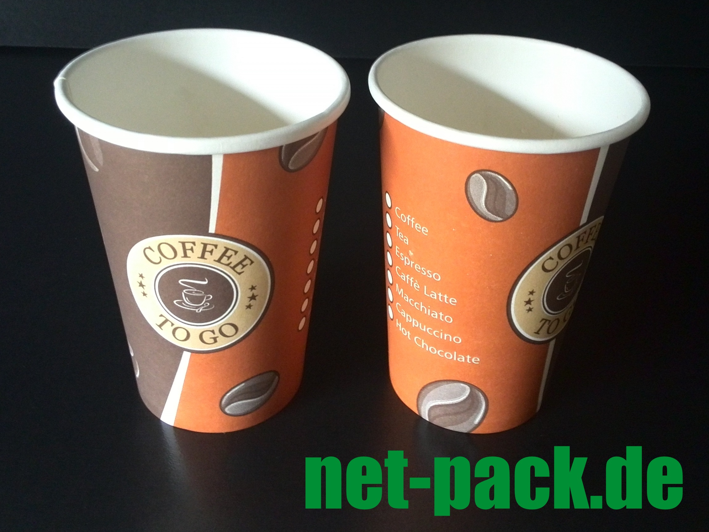 COFFEE TO GO Becher 250ml/10oz. Ø80mm 1000 Stück
