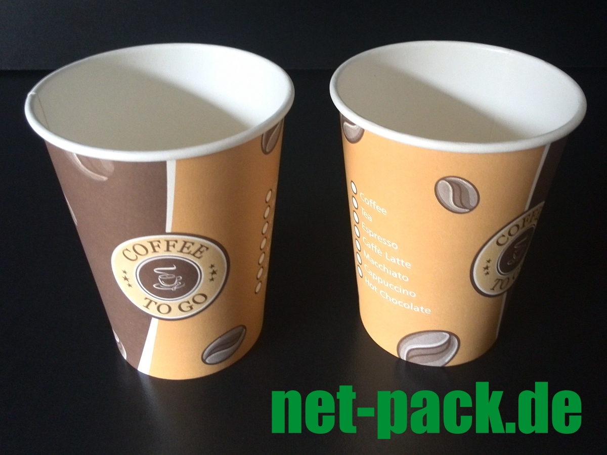COFFEE TO GO Becher 250ml flach Ø90mm 1000 Stück